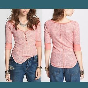 NWT $58 Free People Ribbed Slub Henley Top  Large